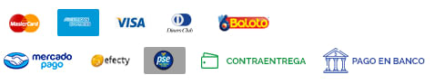 MasterCard Visa Baloto MercadoPago Efecty Contraentrega