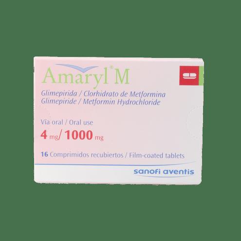 Comprar Amaryl M 4mg/1000mg Caja X 16 Comprimido