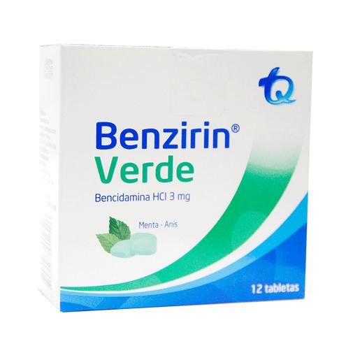 Comprar Benzirin Verde Menta Anis X 12 Tabletas