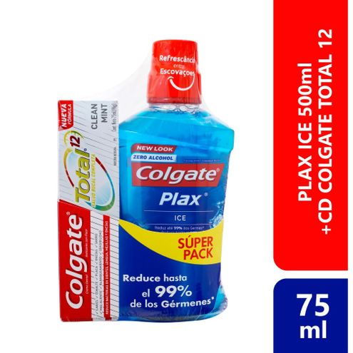Comprar Enjuague Bucal Colgate Plax Ice X 500ml + Crema Dental Total 12 Clean Mint X 75ml