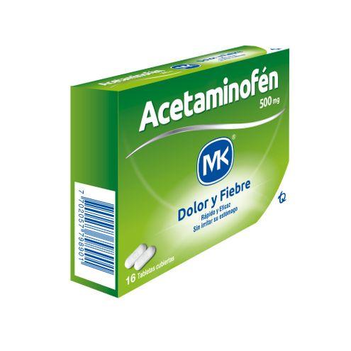 Comprar Acetaminofen Mk 500mg X 16 Tabletas Cubiertas