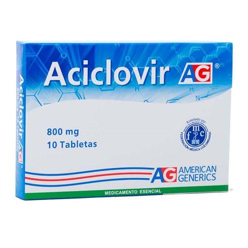 Comprar Aciclovir 800mg Ag X 10 Tabletas