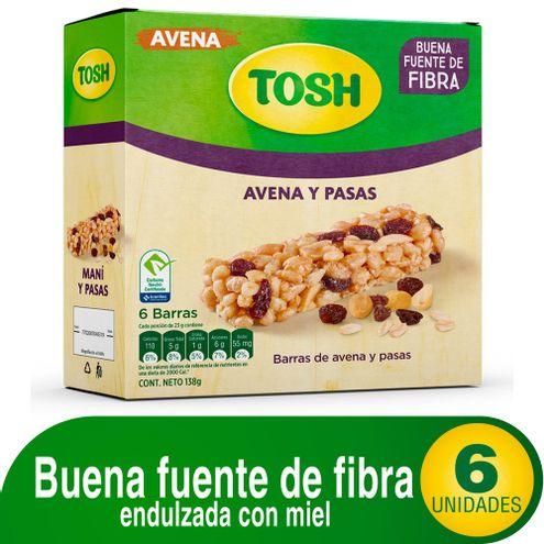 Comprar Barra Tosh Avena Y Pasas X 6und X 138g