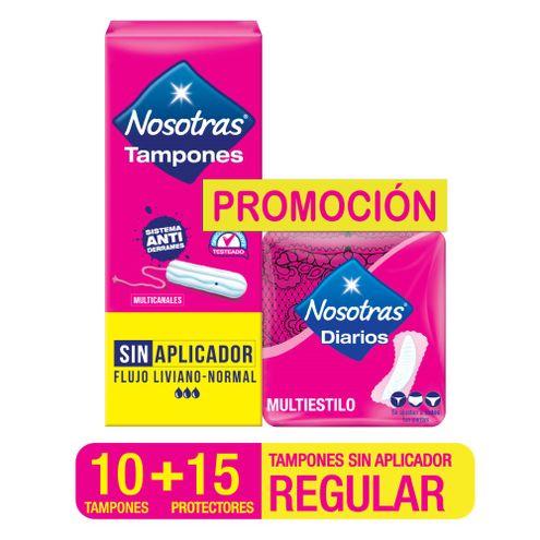 Comprar Tampones Nosotras Regulares X 12und + Protectores Nosotras Multiestilos X 15und