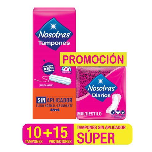 Comprar Tampones Digitales Nosotras Super X 10und + Protectores Nosotras Multiusos X 15und