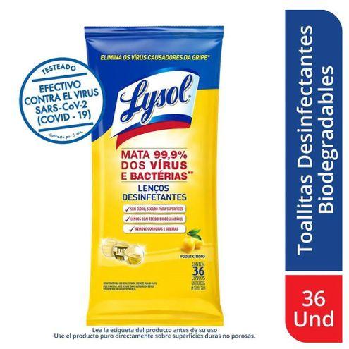 Comprar Toallitas Desinfectantes Lysol Poder Citrico X 36und