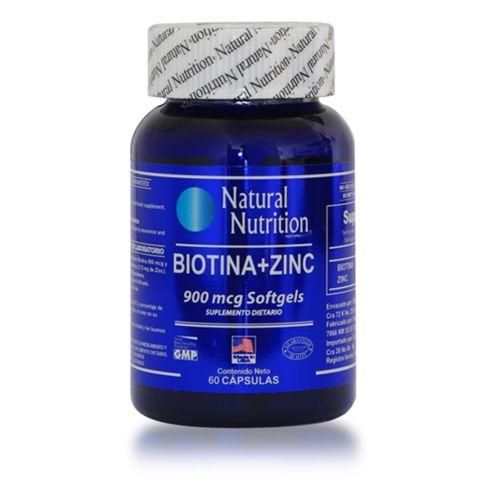 Comprar Biotina + Zinc 900mcg Natural Nutrition X 60 Capsulas